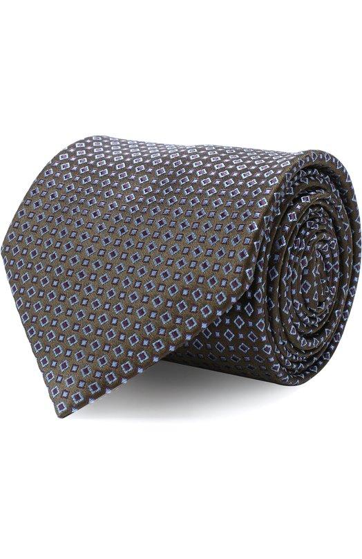 Купить Шелковый галстук с узором Brioni, 062I00/07434, Италия, Зеленый, Шелк: 100%;