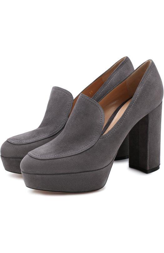 Купить Замшевые туфли на устойчивом каблуке и платформе Gianvito Rossi, G21502.70RIC.CAMLAPI, Италия, Темно-серый, Подошва-кожа: 100%; Подкладка-кожа: 100%; Кожа: 100%;