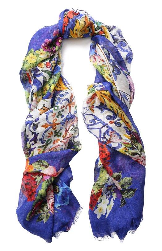 Купить Шелковый шарф с принтом Dolce & Gabbana, FS184A/GDJ52, Италия, Синий, Шелк: 100%;