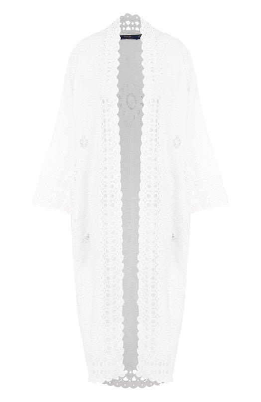 Купить Льняная накидка с кружевной отделкой Polo Ralph Lauren, 211696980, Индия, Белый, Лен: 100%;
