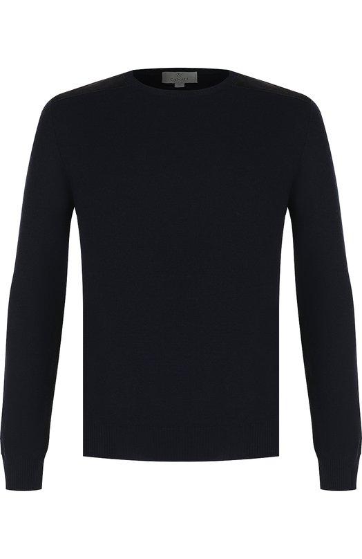 Купить Джемпер из шерсти тонкой вязки Canali, C0590/MK00588, Италия, Темно-синий, Шерсть: 100%;
