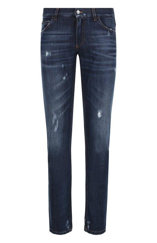 Купить Джинсы прямого кроя с потертостями Dolce & Gabbana, GY70LD/G8AB3, Италия, Темно-синий, Хлопок: 60%; Лиоцелл: 40%;