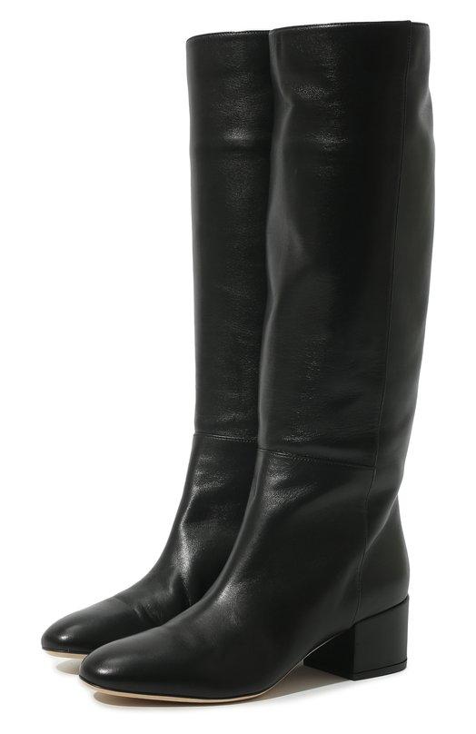 Купить Кожаные сапоги на устойчивом каблуке Sergio Rossi, A78340-MNAN07, Италия, Черный, Кожа натуральная: 100%; Стелька-кожа: 100%; Подошва-кожа: 100%; Подкладка-кожа: 100%; Кожа: 100%;