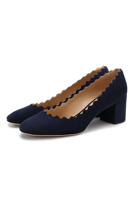 Купить Замшевые туфли Lauren с фигурным вырезом Chloé, CHC16S23001, Италия, Темно-синий, Стелька-кожа: 100%; Подошва-кожа: 100%; Замша натуральная: 100%; Подкладка-кожа: 100%; Кожа: 100%;