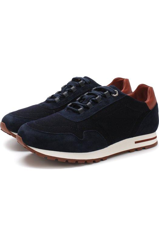 Купить Замшевые кроссовки с отделкой из кашемира Loro Piana, FAG3631, Италия, Темно-синий, Кожа натуральная: 51%; Кожа: 51%; Текстиль: 49%; Подкладка-кожа: 100%; Стелька-кожа: 100%; Подошва-резина: 100%;