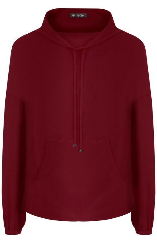 Купить Однотонная шелковая блуза с воротником-стойкой Loro Piana, FAI1969, Италия, Бордовый, Шелк: 100%;