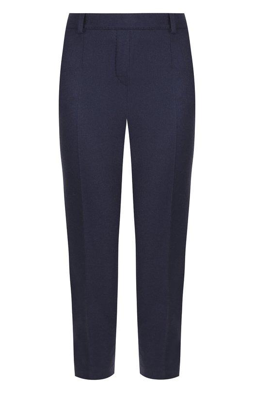 Купить Укороченные брюки из смеси кашемира и шелка со стрелками Loro Piana, FAI2709, Италия, Темно-синий, Кашемир: 93%; Шелк: 5%; Эластан: 2%;