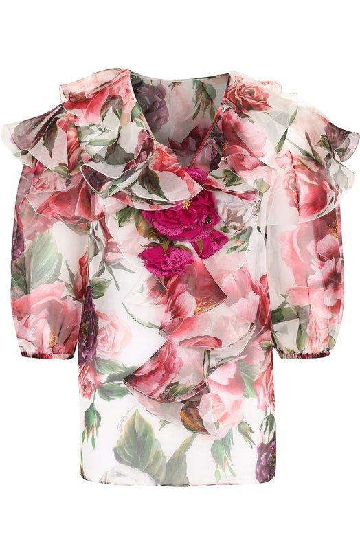 Купить Шелковая блуза с оборками и принтом Dolce & Gabbana, F72H7Z/HS1VS, Италия, Разноцветный, Шелк: 100%;