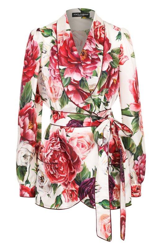 Купить Шелковая блуза с запахом и принтом Dolce & Gabbana, F5J26Z/HS1VQ, Италия, Разноцветный, Шелк: 100%;