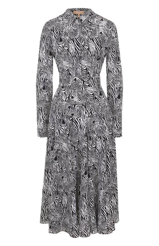 Купить Приталенное шелковое платье-миди с принтом Michael Kors Collection, MKPL434A/KL103, Италия, Черно-белый, Шелк: 100%;