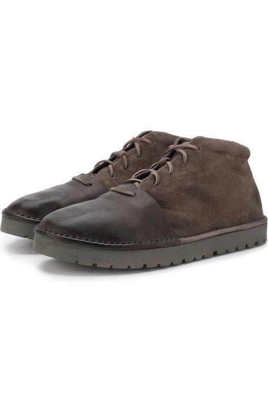 Купить Кожаные ботинки на шнуровке Marsell, MMG120/CAPR0NA R0V., Италия, Темно-серый, Подошва-резина: 100%; Подкладка-кожа: 100%; Кожа: 100%;