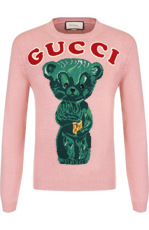 Шерстяной джемпер с нашивками и принтом Gucci