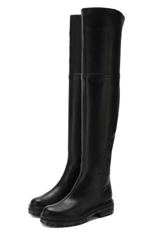 Купить Кожаные ботфорты на низком каблуке Gianvito Rossi, G80683.20CU0.PL0NER0, Италия, Черный, Подошва-резина: 100%; Подкладка-кожа: 100%; Кожа: 100%;