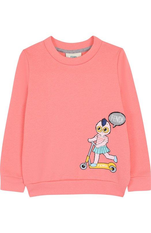 Купить Хлопковый свитшот с принтом Fendi, JFH051/5V0/6A-8A, Италия, Розовый, Хлопок: 100%;