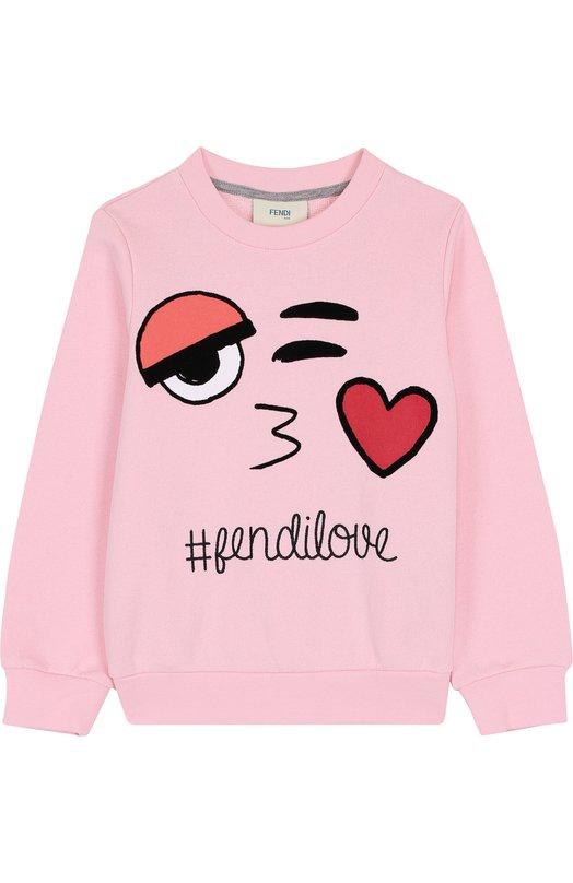 Купить Хлопковый свитшот с принтом Fendi, JFH053/5V0/3A-5A, Португалия, Розовый, Хлопок: 100%;