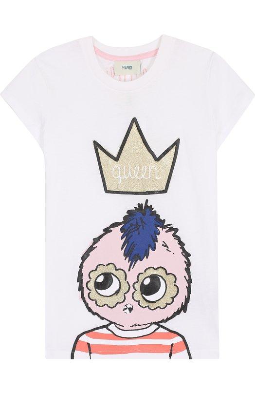 Купить Хлопковая футболка с принтом Fendi, JFI117/7AJ/3A-5A, Португалия, Белый, Хлопок: 100%;