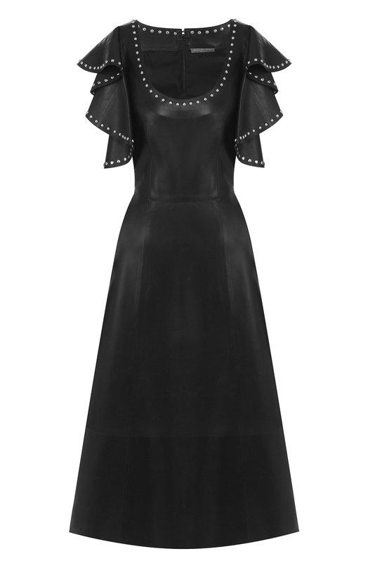 Купить Кожаное платье с декоративной отделкой и оборками на рукавах Alexander McQueen, 532277/Q5H0C, Италия, Черный, Кожа: 100%;