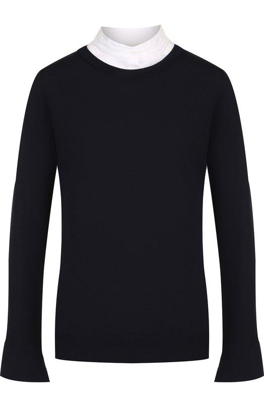 Купить Шерстяной пуловер с контрастными вставками и воротником-стойкой Windsor, 52 DP809 10001583, Китай, Темно-синий, Шерсть: 100%;