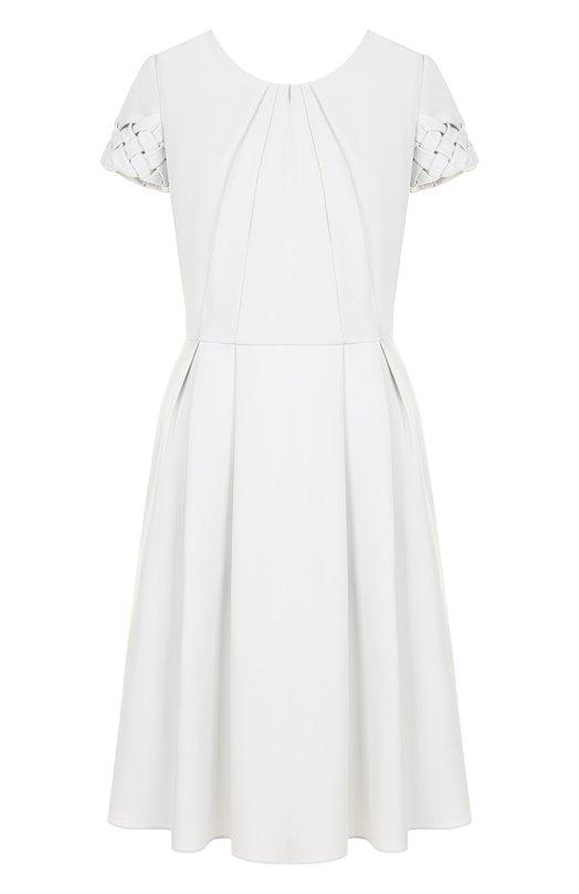 Купить Однотонное шерстяное мини-платье Giorgio Armani, 8WHVA006/T001T, Италия, Кремовый, Шерсть: 100%;