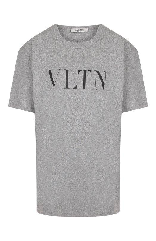 Купить Хлопковая футболка с логотипом бренда Valentino, QB3MG07D3V6, Италия, Серый, Хлопок: 100%;