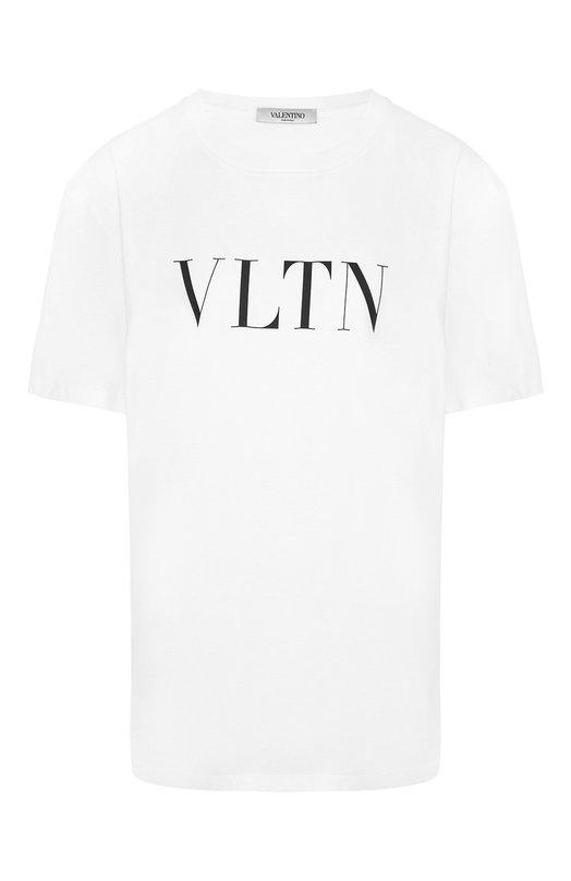 Купить Хлопковая футболка с логотипом бренда Valentino, QB3MG07D3V6, Италия, Белый, Хлопок: 100%;