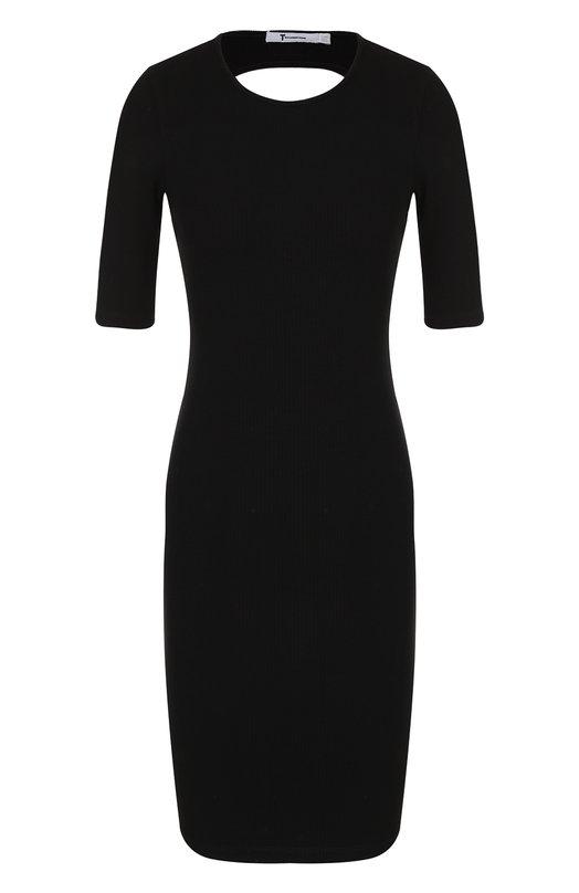 Приталенное мини-платье с открытой спиной T by Alexander Wang, 4C286010E2, Китай, Черный, Вискоза: 91%; Эластан: 9%;  - купить