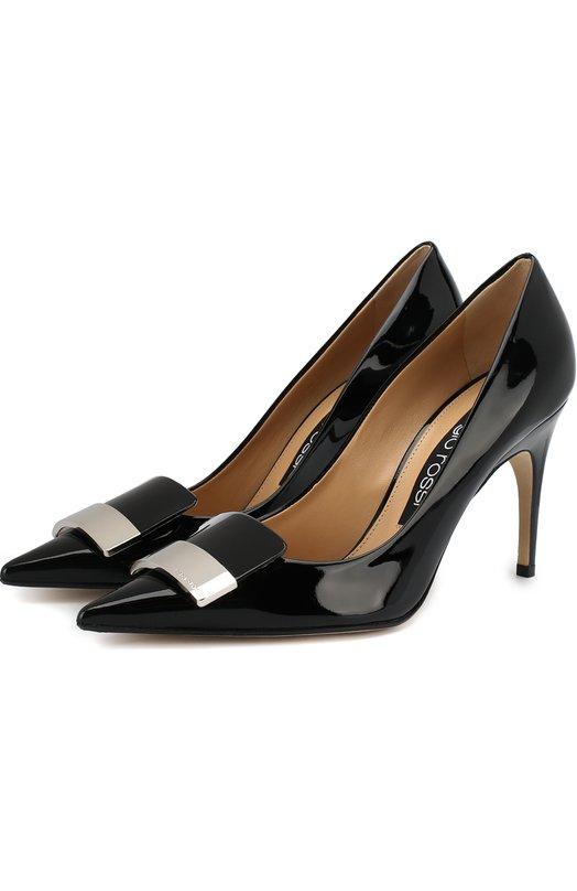 Купить Лаковые туфли с декором на шпильке Sergio Rossi, A78953-MVIV01, Италия, Черный, Подошва-кожа: 100%; Подкладка-кожа: 100%; Кожа: 100%;