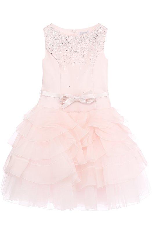 Купить Платье с многослойной юбкой и поясом Monnalisa, 772903, Италия, Розовый, Верхняя часть-полиэстер: 90%; Полиамид: 7%; Эластан: 3%; Нижняя часть-шелк: 100%;