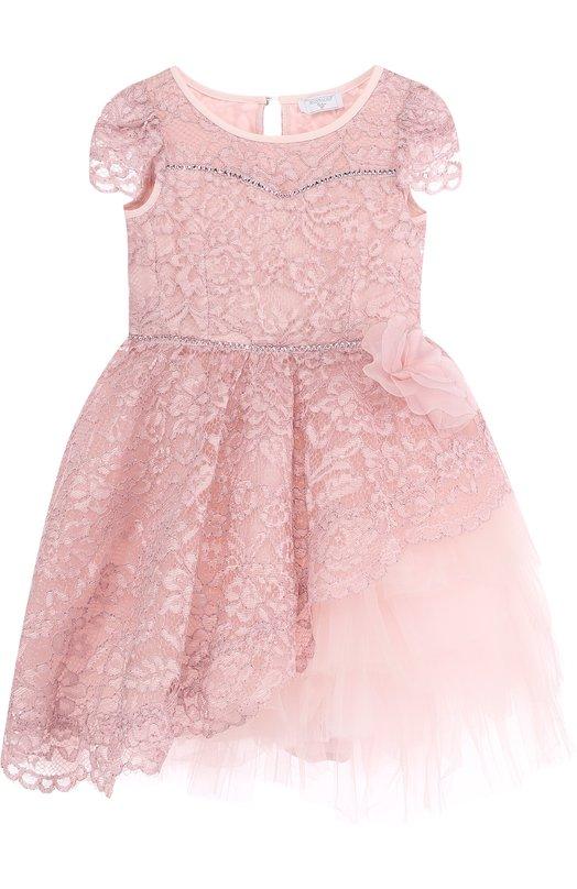 Купить Платье с кружевной отделкой и асимметричным подолом Monnalisa, 772901, Италия, Розовый, Полиэстер: 100%; Подкладка-ацетат: 73%; Подкладка-полиэстер: 27%; Сетка-полиамид: 100%;