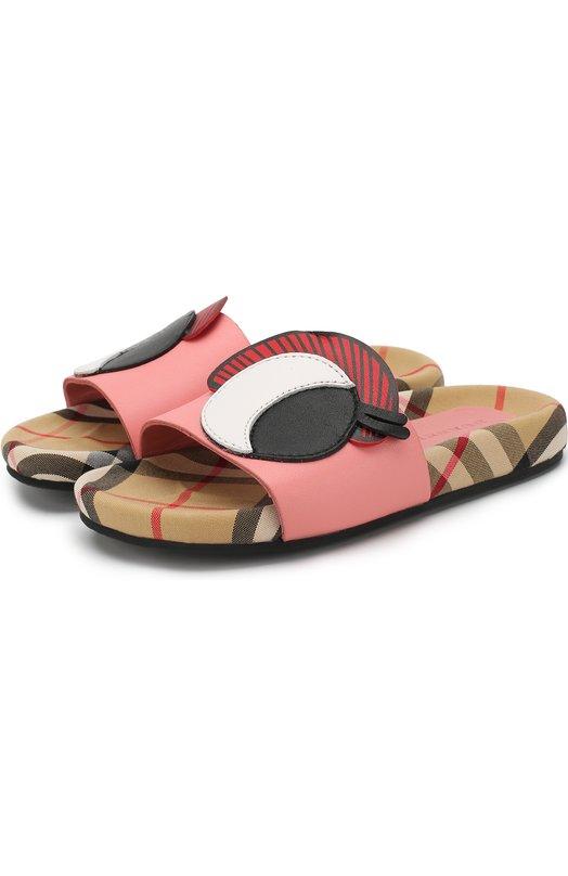 Купить Кожаные шлепанцы с декором Burberry, 4076017, Китай, Розовый, Подкладка-текстиль: 70%; Подкладка-кожа: 30%; Подошва-резина: 100%; Кожа: 100%;