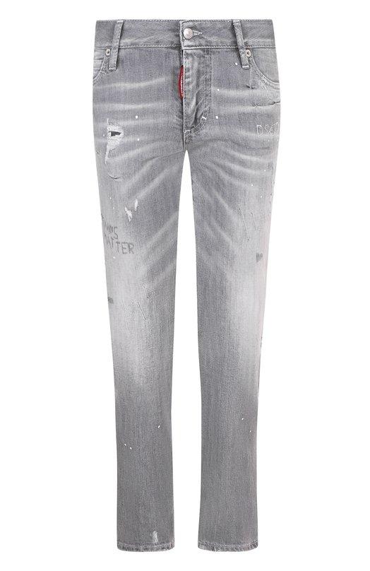Купить Укороченные джинсы с потертостями Dsquared2, S75LB0063/S30260, Италия, Светло-серый, Хлопок: 98%; Эластан: 2%;