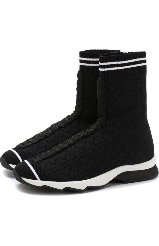 Купить Высокие текстильные кроссовки Fendi, 8T6515 0D8, Италия, Черный, Подошва-резина: 100%; Текстиль: 100%; Подкладка-текстиль: 100%;