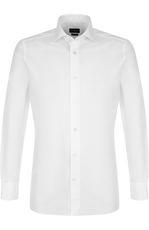 Купить Хлопковая сорочка с воротником кент Ermenegildo Zegna, 401031/9MS0BR, Румыния, Белый, Хлопок: 100%;