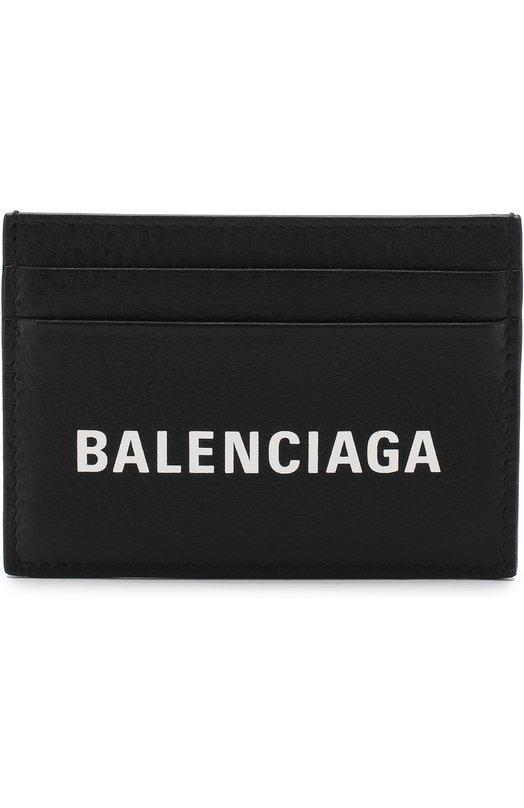 Купить Кожаный чехол для кредитных карт с логотипом бренда Balenciaga, 505054/DLQHN, Италия, Черный, Кожа: 100%;