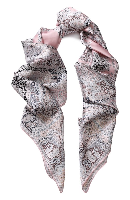Купить Шелковый платок с принтом Michele Binda, 19835717, Италия, Светло-розовый, Шелк: 100%;