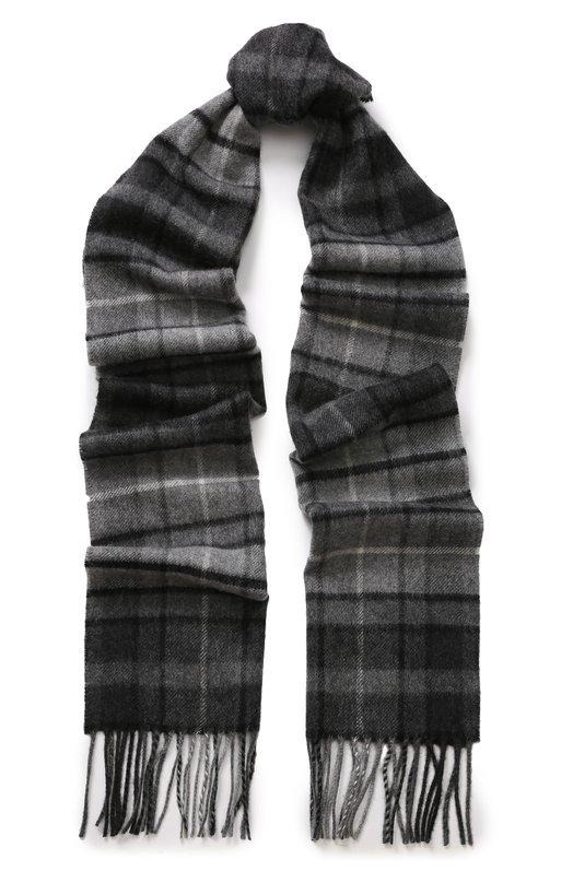 Купить Кашемировый шарф в клетку с бахромой Johnstons Of Elgin, WA000016, Великобритания, Темно-синий, Кашемир: 100%;