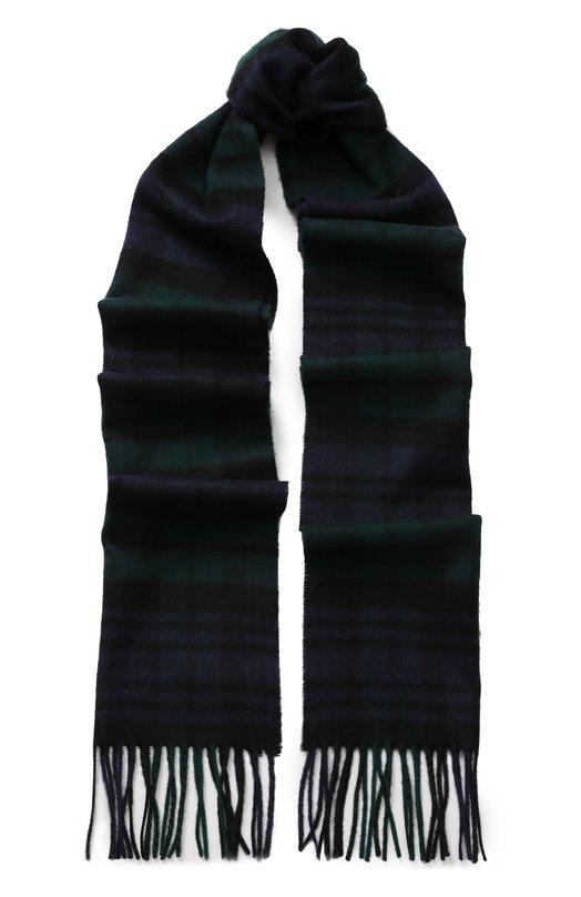 Купить Кашемировый шарф в клетку с бахромой Johnstons Of Elgin, WA000016, Великобритания, Темно-зеленый, Кашемир: 100%;