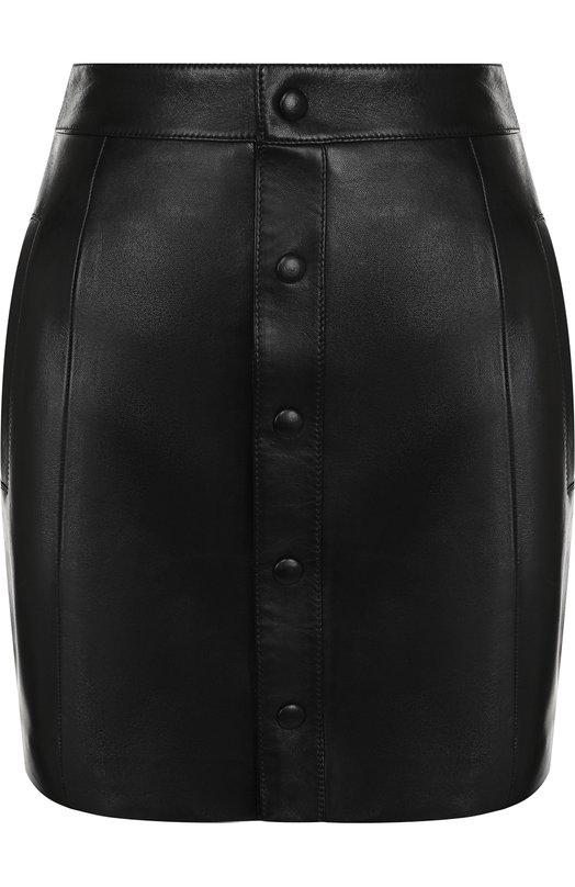 Купить Кожаная мини-юбка с карманами Saint Laurent, 528998/Y50A2, Италия, Черный, Подкладка-шелк: 100%; Кожа: 100%;