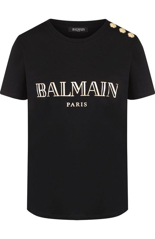 Купить Хлопковая футболка с логотипом бренда и контрастными пуговицами Balmain, 148120/326I, Португалия, Черный, Хлопок: 100%;