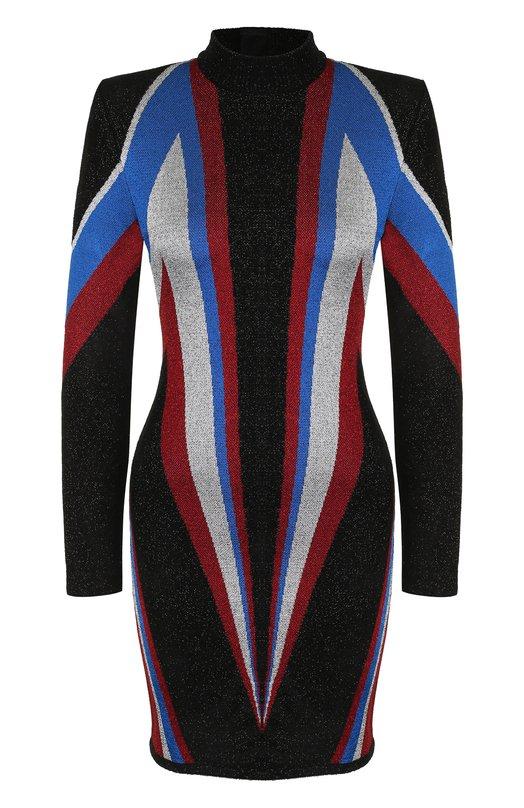 Купить Приталенное мини-платье с воротником-стойкой Balmain, 143684/K042, Франция, Разноцветный, Металлизированное волокно: 6%; Вискоза: 52%; Ацетат: 22%; Полиамид: 20%;