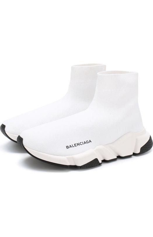 Купить Текстильные кроссовки Speed Trainer Balenciaga, 494371/W05G0, Италия, Белый, Полиамид: 80%; Подкладка-полиамид: 80%; Эластан: 20%; Подкладка-эластан: 20%; Подошва-резина: 100%; Текстиль: 100%; Стелька-текстиль: 100%;