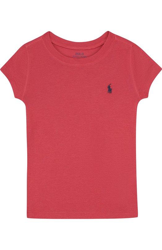 Купить 313688671, Футболка джерси с логотипом бренда Polo Ralph Lauren, Перу, Красный, Хлопок: 52%; Вискоза: 48%;, Женский, Футболки