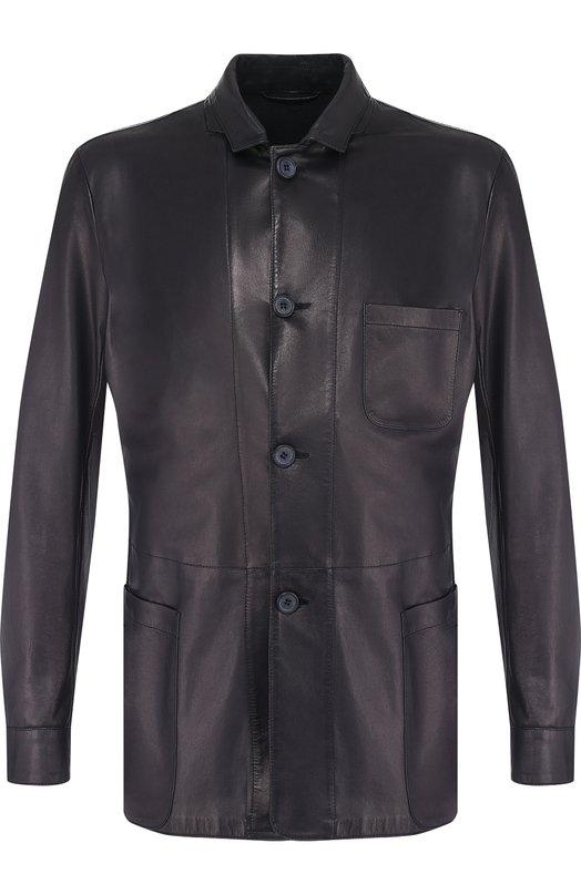 Купить Кожаная куртка с отложным воротником Giorgio Armani, WSG02P/WSP11, Италия, Темно-синий, Кожа натуральная: 100%;