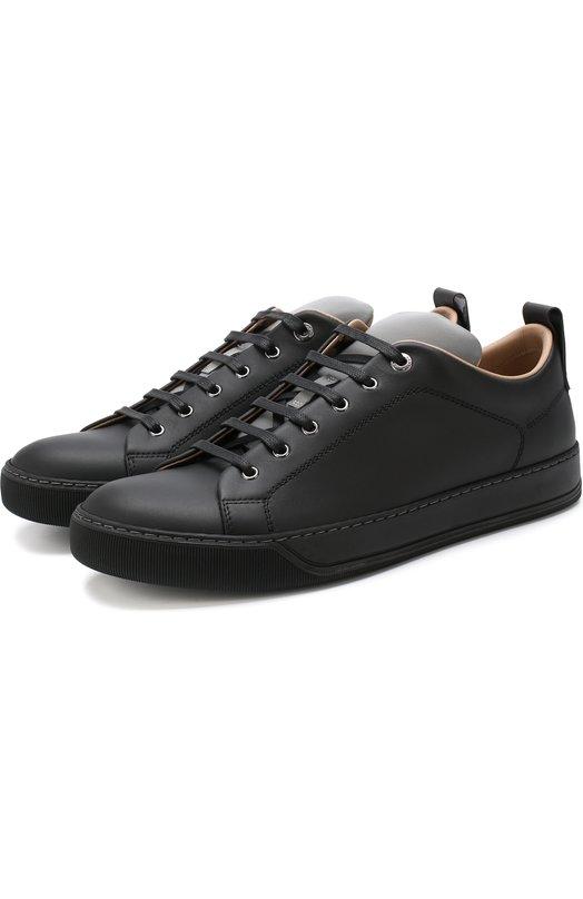 Купить Кожаные кеды на шнуровке Lanvin, FM-SKDBN5-VNAP-A18, Португалия, Черный, Подошва-резина: 100%; Подкладка-кожа: 100%; Кожа: 100%;