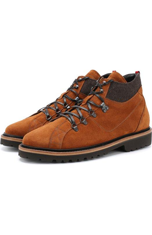 Купить Кожаные ботинки с внутренней меховой отделкой Kiton, USSSTMZN00139, Италия, Светло-коричневый, Подошва-резина: 100%; Подкладка-кожа: 100%; Подкладка-мех натуральный: 100%; Кожа: 100%;