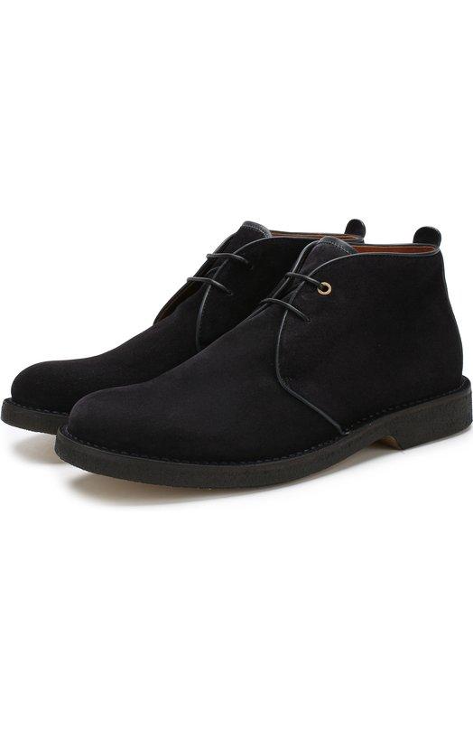 Купить Высокие кожаные ботинки на шнуровке Ermenegildo Zegna, A4006X-F0C, Италия, Темно-синий, Подошва-Резина: 100%; Подкладка-Кожа: 100%; Кожа: 100%;