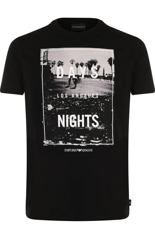 Купить Хлопковая футболка с принтом Emporio Armani, 6Z1TE9/1J19Z, Болгария, Черный, Хлопок: 100%;