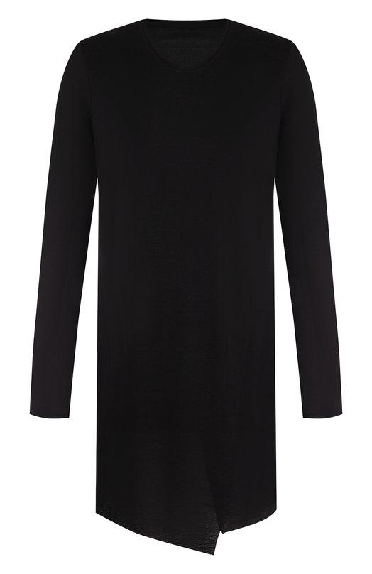 Удлиненная футболка с длинными рукавами из смеси вискозы и льна Julius, 627CUM6, Япония, Черный, Вискоза: 55%; Лен: 23%; Полиэстер: 22%;  - купить