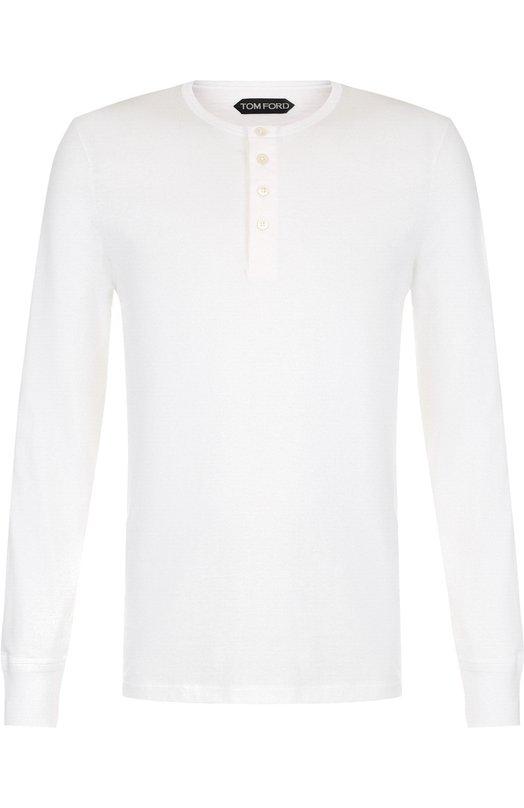 Купить Хлопковая футболка-хенли с длинными рукавами Tom Ford, BR402/TFJ890, Италия, Белый, Хлопок: 100%;
