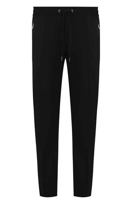 Купить Хлопковые брюки с поясом на резинке Dolce & Gabbana, GYACET/FUFI3, Италия, Черный, Хлопок: 97%; Эластан: 3%;